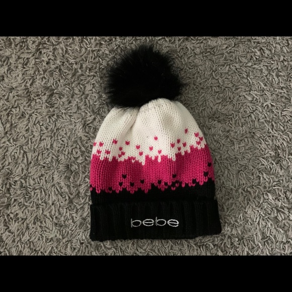 bebe Accessories - Bebe, Womens Knitted Beanie with Heart Design